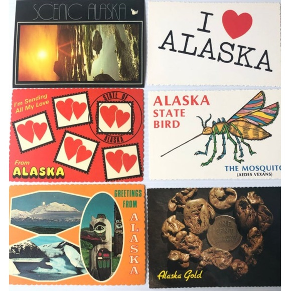 ALASKA Postcards 6PC Vintage Alaska, I Love Alaska